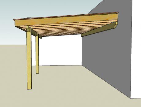 R alisation d 39 une pergola couverte artisan charpente for Monter une pergola en bois